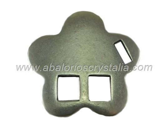 CIERRE TIPO HEBILLA ZAMAK BAÑO PLATA FORMA FLOR 27mm