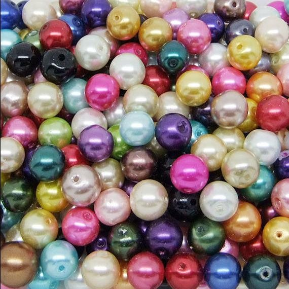 10 PERLAS DE CRISTAL MIX DE COLORES 12mm