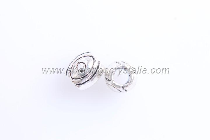 10 OLIVAS ESPACIADOR CIRCULAR PLATA ANTIGUA 6x5.7mm