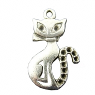 5 COLGANTES GATO PLATA ANTIGUA 16x26mm