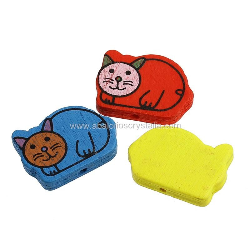 5 GATOS DE MADERA MIX DE COLORES 28x20mm