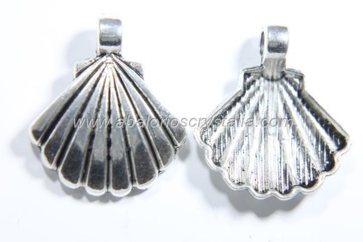 5 CONCHAS PLATA ANTIGUA 22x19mm