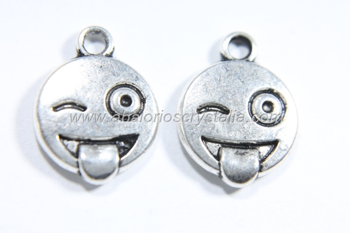 10 COLGANTES EMOTICONO PLATA ANTIGUA 15x12mm. (mod 6)