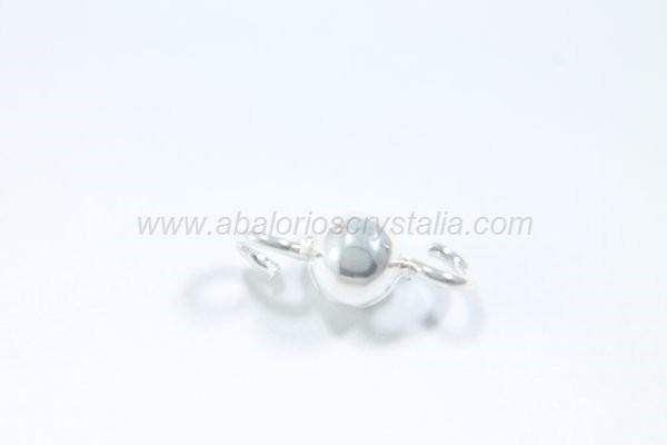 Conector bola 4 mm con 2 anillas plata 925