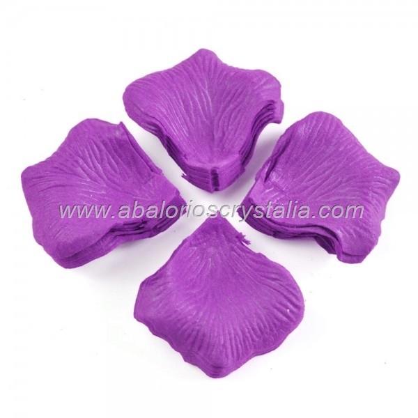 100 Pétalos de Rosa de tela 5x5cm Violeta