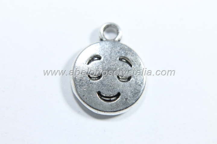 10 COLGANTES EMOTICONO PLATA ANTIGUA 15x12mm. (mod 2)