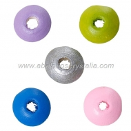 25 DONUTS DE MADERA 10x5 mm MIX DE COLORES