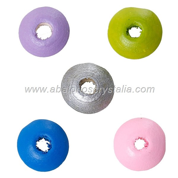 25 DONUTS DE MADERA 10x5 mm MIX DE COLORES