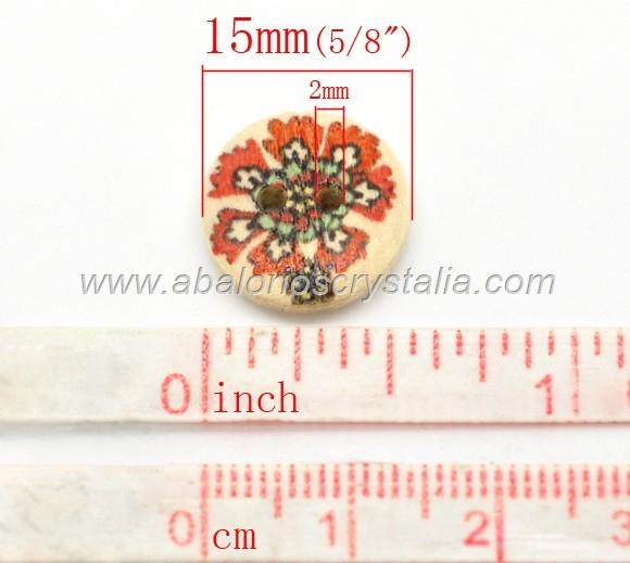 10 BOTONES MADERA 2 AGUJEROS MIX 15mm
