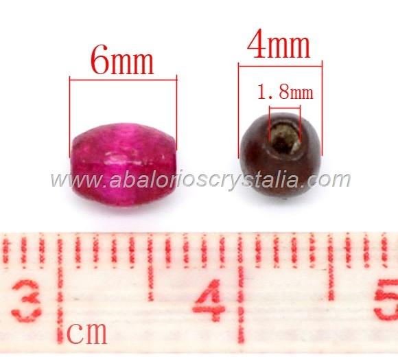 100 OLIVAS DE MADERA 6x4mm MIX DE COLORES