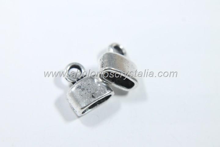 10 CAPUCHONES PLANOS PLATA ANTIGUA CON ANILLA 10x8mm(paso 6x2mm)