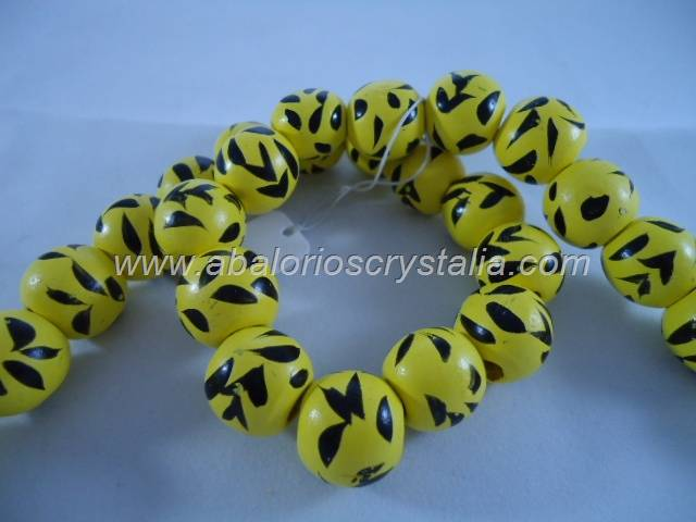 5 BOLAS COLOR AMARILLO ETNIA 16x15mm