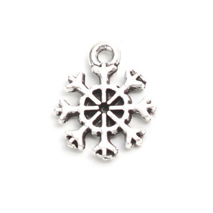 10 MINI COPOS DE NIEVE PLATA ANTIGUA 13x11mm