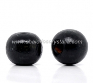 20 BOLAS DE MADERA COLOR NEGRO 10x9mm