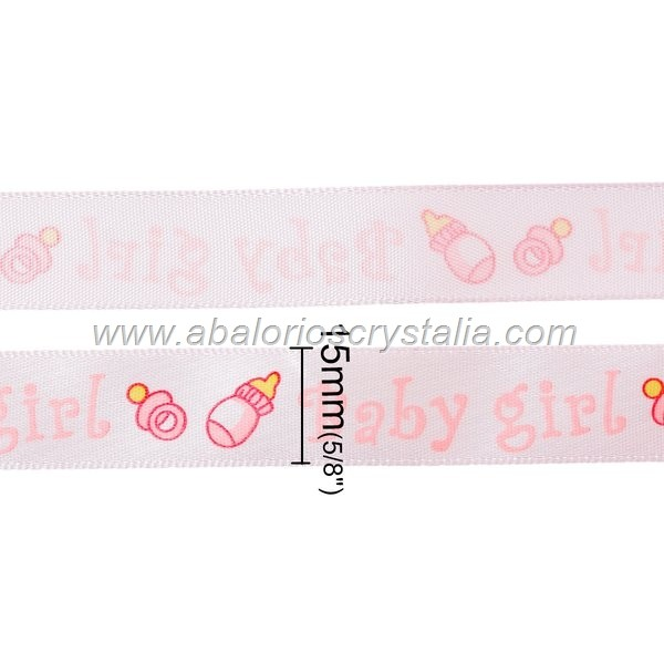 1 METRO DE CINTA DE RASO ROSA ESTAMPADO BABY-GIRL 15mm