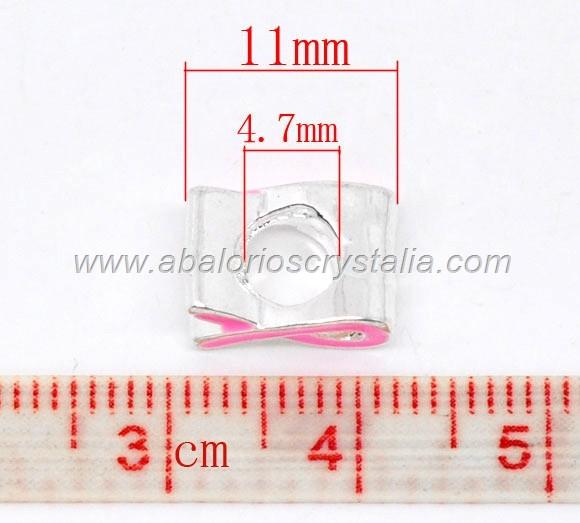 ABALORIO PLATEADO LAZO SOLIDARIO ROSA 11x5.5mm