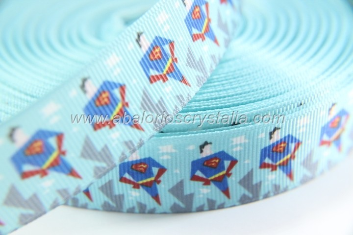 1 METRO DE CINTA GROSGRAIN ESTAMPADO SUPERMAN 22mm