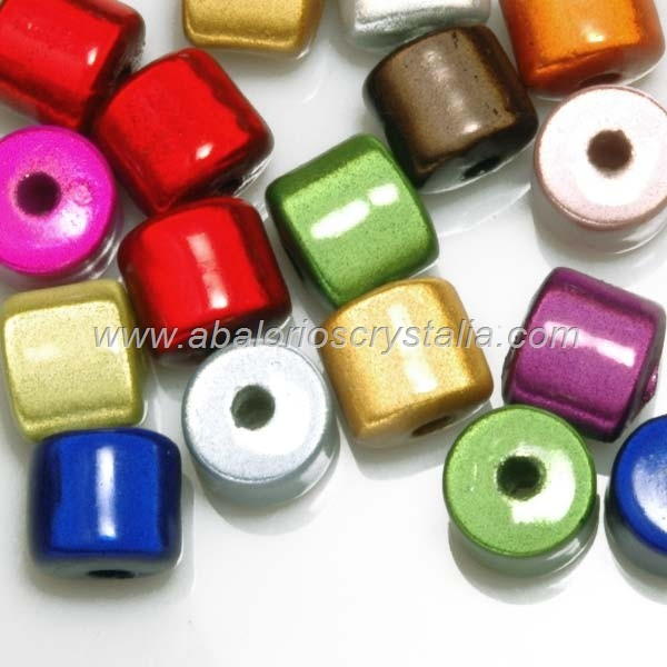 10 CILINDROS EFECTO MIRACLE MIX COLORES 8x8mm