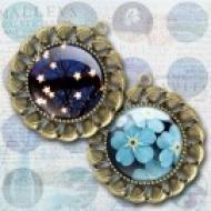 LÁMINA CON 30 IMÁGENES 30x30mm Flores azules