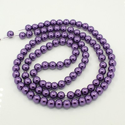 15 PERLAS DE CRISTAL COLOR MORADO 10mm