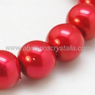 50 PERLAS DE CRISTAL COLOR ROJO 4mm