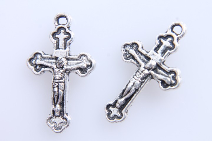 10 COLGANTES CRUCIFIJO PLATA ANTIGUA 19x11mm