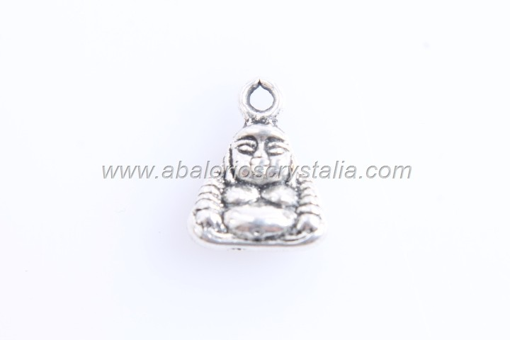 10 COLGANTES BUDA PLATA ANTIGUA 12x10mm