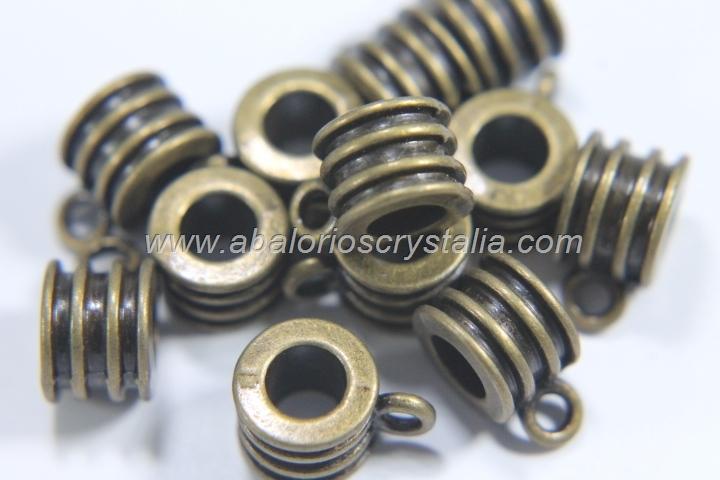 5 COLGADORES CON ANILLA BRONCE 12x6.5mm