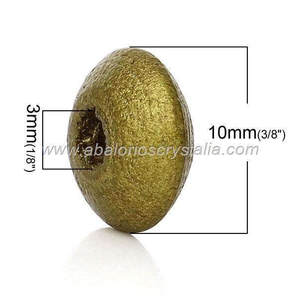 25 DONUTS DE MADERA 10x5 mm DORADO