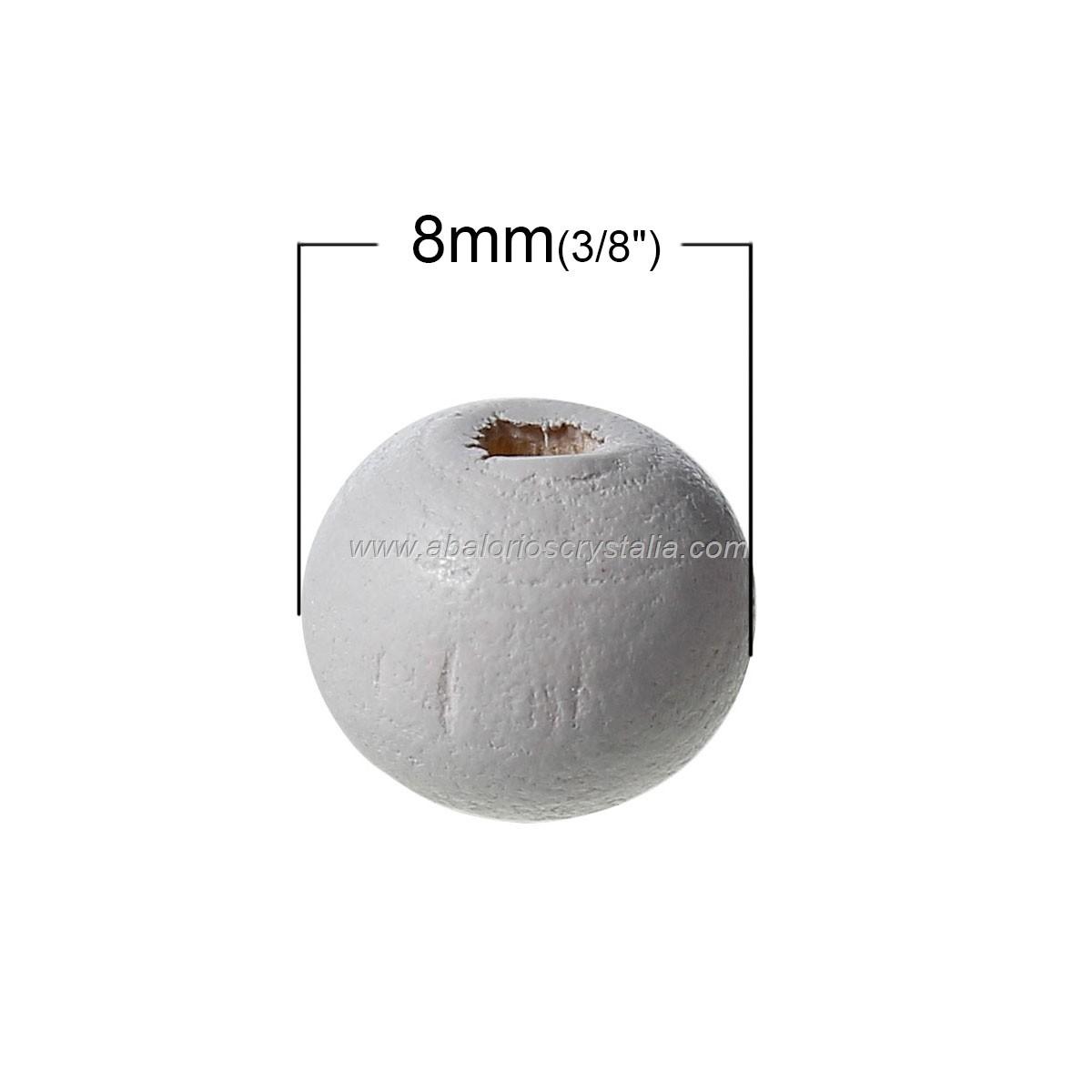 25 BOLAS DE MADERA GRIS 8mm
