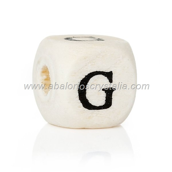 10 CUBOS DE MADERA abc LETRA G COLOR NATURAL BLANCO