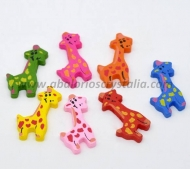 5 GIRAFAS DE MADERA MIX DE COLORES 36x18mm ref: 290