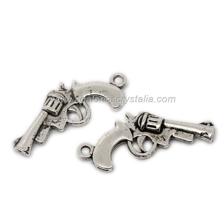 5 PISTOLAS PLATA ANTIGUA 25x14mm