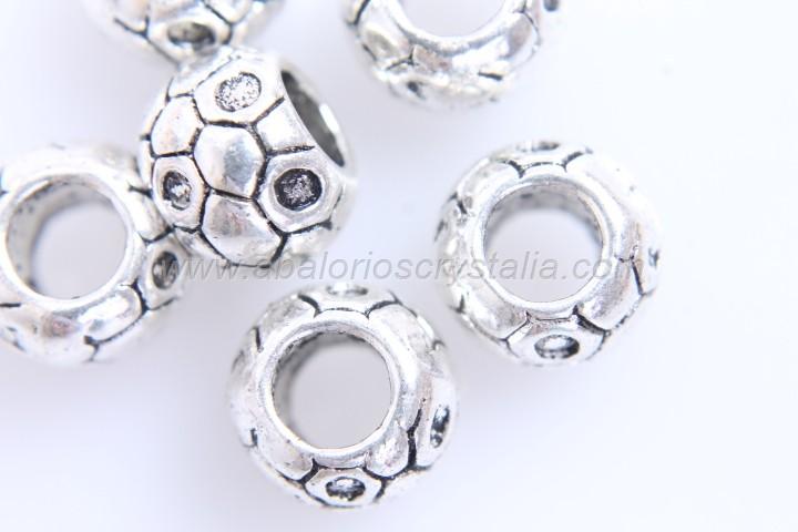 5 ABALORIOS ARANDELA PANAL PLATA ANTIGUA 9x7mm