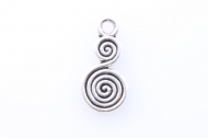 20 COLGANTES SISTREL DOBLE ESPIRAL PLATA ANTIGUA 32mm