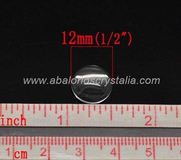 5 CABUCHONES DE CRISTAL REDONDO 12mm PARA CAMAFEO