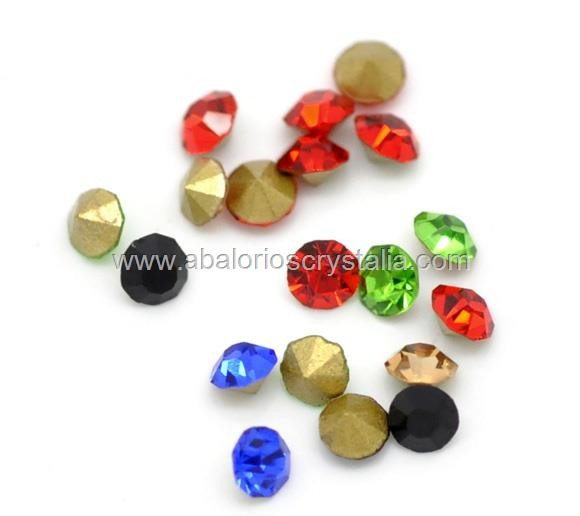 100 CHATONES DE CRISTAL  MIX DE 5 COLORES. SS10 (2.8x1.9 mm)
