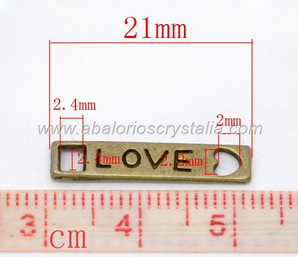 5 MINI CONECTOR BRONCE RECTÁNGULO LOVE 21mm x 4mm