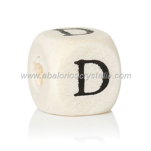 10 CUBOS DE MADERA abc LETRA D COLOR NATURAL BLANCO