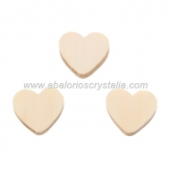 5 CORAZONES DE MADERA NATURAL 21x18mm