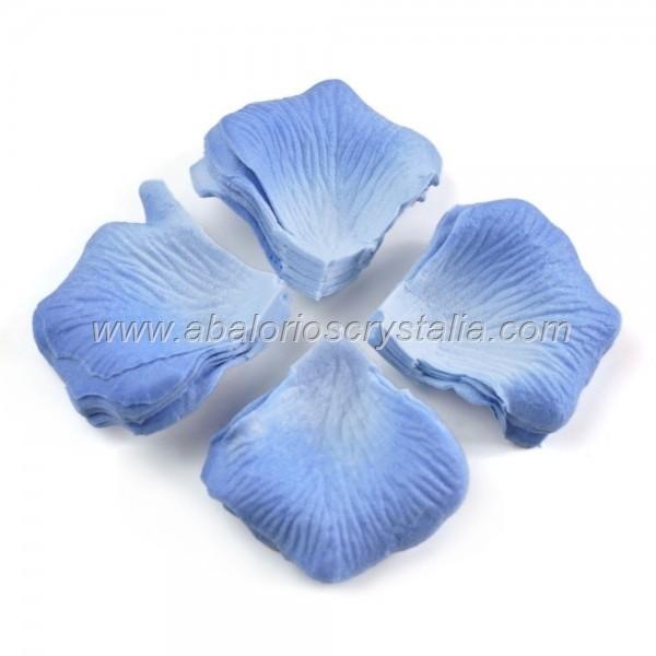 100 Pétalos de Rosa de tela 5x5cm Azul 3