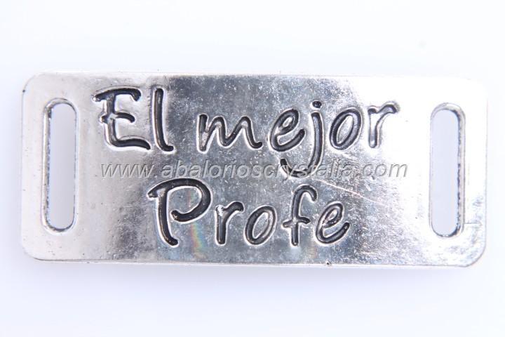 CONECTOR El mejor profe PLATA ANTIGUA 40x16mm