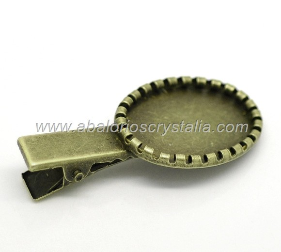 2 PINZAS DE PELO BRONCE ANTIGUO 46x21mm (base 25x17mm)