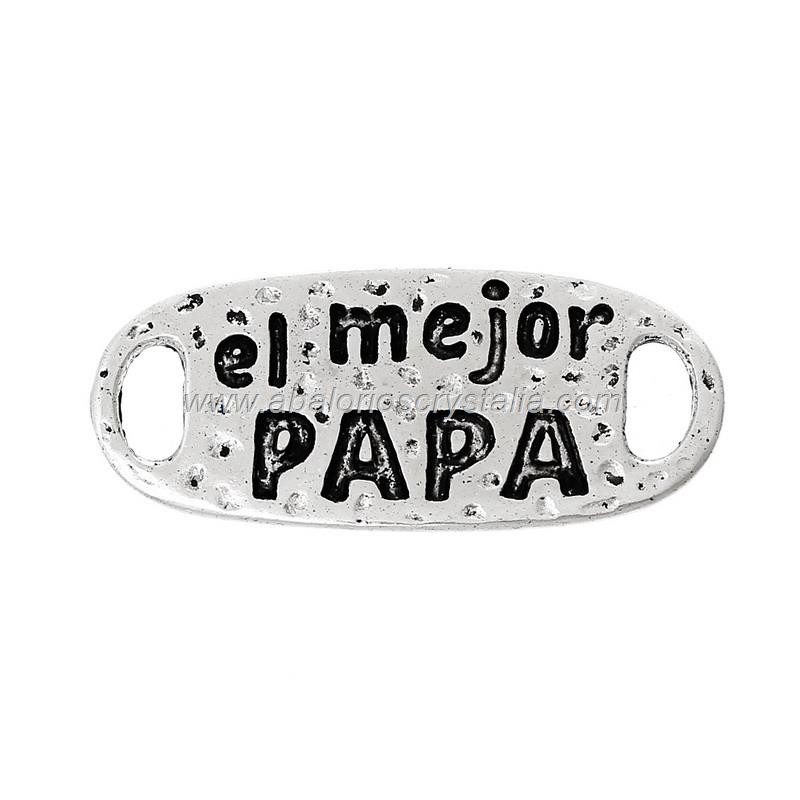 5 CHAPAS CONECTORAS el mejor Papá PLATA ANTIGUA 30x1.3mm