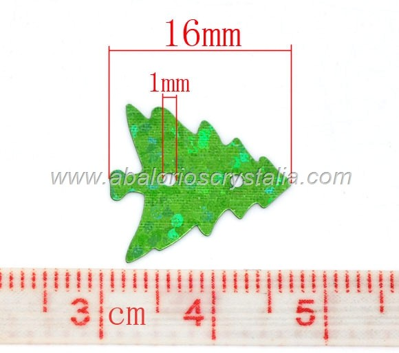 50 LENTEJUELAS DECORATIVAS FORMA ARBOL 16mm x 15mm