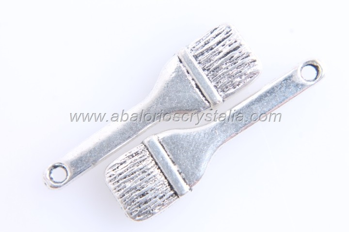 5 COLGANTES BROCHA PLATA ANTIGUA 25x7mm