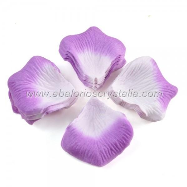 100 Pétalos de Rosa de tela 5x5cm Lila 2