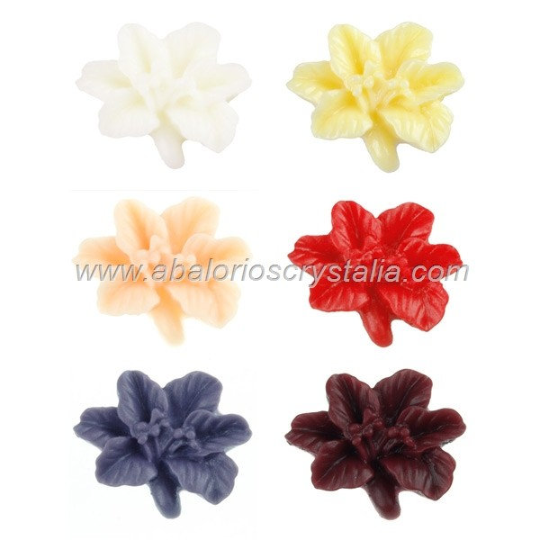 LOTE CABUCHONES FLOR RESINA BASE PLANA 16x14x5mm 6 COLORES