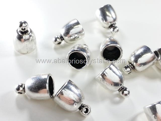 5 CAPUCHONES PLATA ANTIGUA CON ANILLA 14x10mm