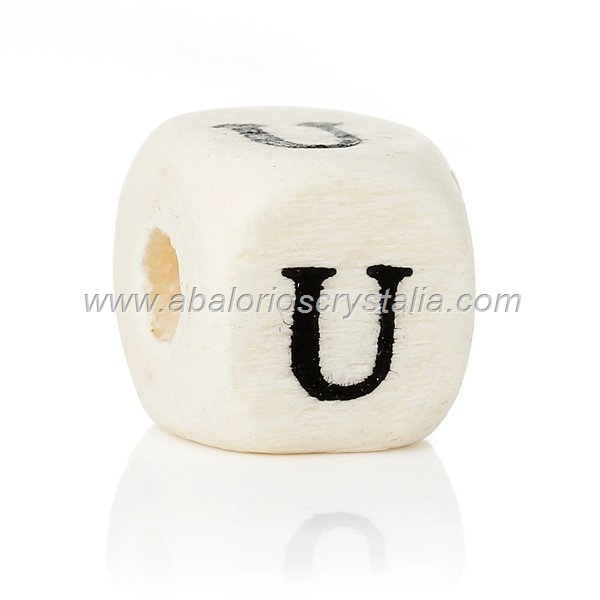 10 CUBOS DE MADERA abc LETRA U COLOR NATURAL BLANCO
